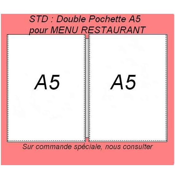 DOUBLE POCHETTE A5 - MENU RESTAURANT PAR 25