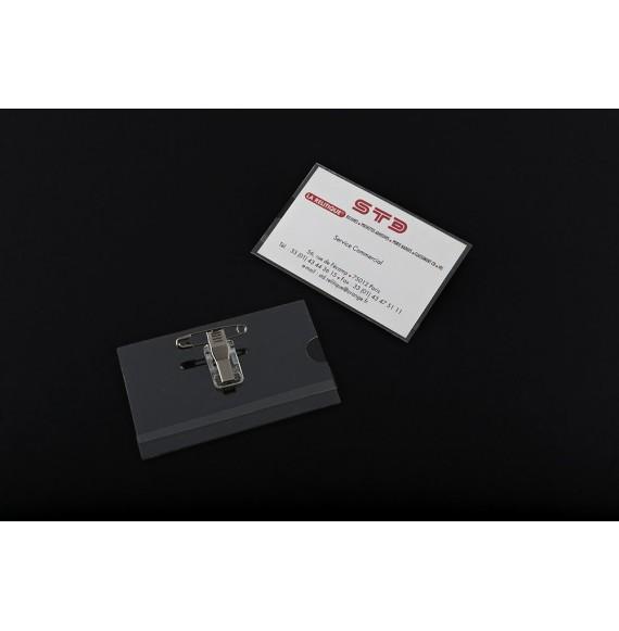 KIT COMPLET PORTE-BADGE + PINCE CROCO + EPINGLE FORMAT PAYSAGE