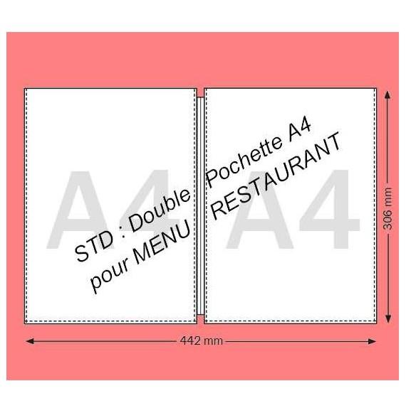 DOUBLE POCHETTE A4 - MENU RESTAURANT