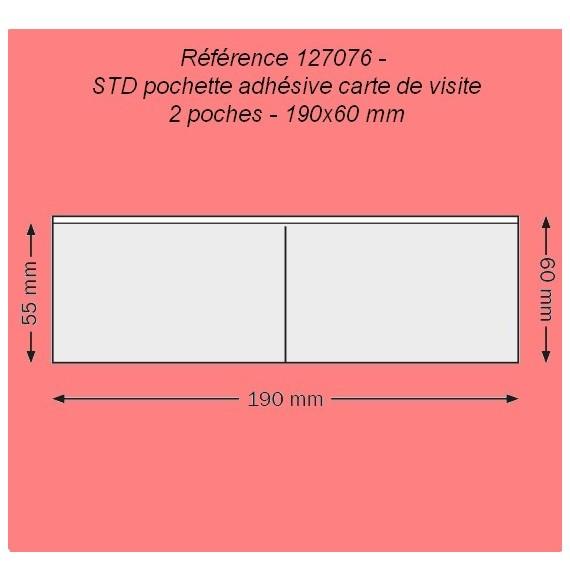POCHETTE CARTE DE VISITE 2 POCHES 190 X 60 GRAND COTE-127076