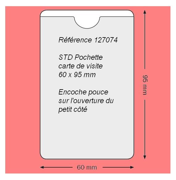 127074 - CARTE DE VISITE PETIT COTE 60 X 95 MM AVEC ENCOCHE POUCE