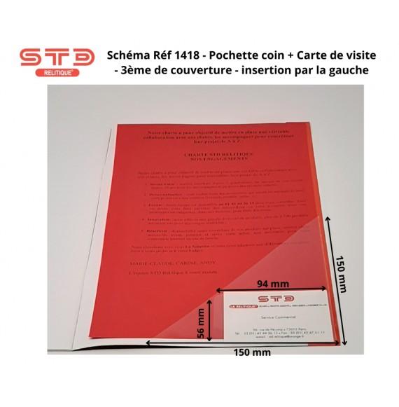 POCHETTE COIN 150 X 150 MM AVEC POCHE CARTE DE VISITE A DROITE