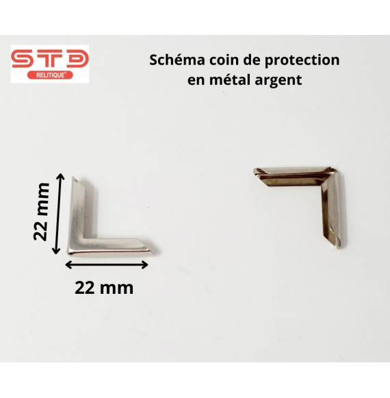 COIN PROTECTION MÉTAL ARGENT 22 X 22 MM