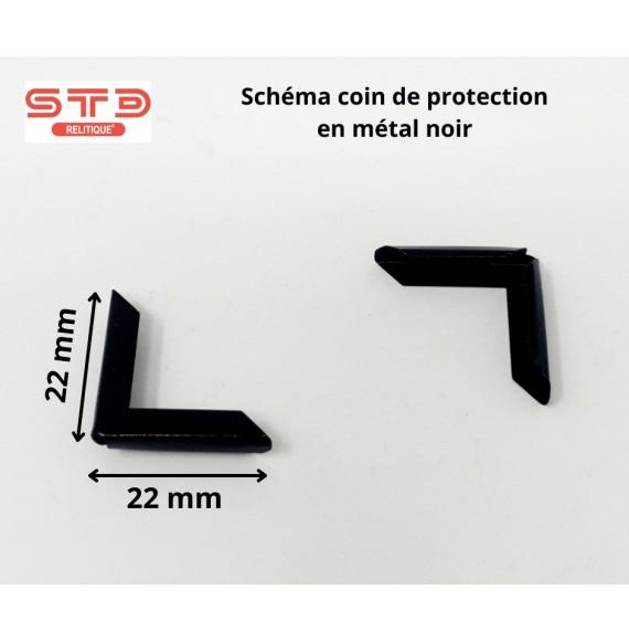 COIN PROTECTION MÉTAL NOIR 22X22 MM PAR 100