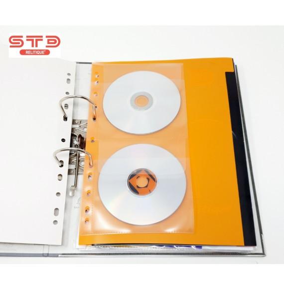 POCHETTE DOUBLE CD-DVD NON ADHESIVE AVEC RABAT POUR CLASSEUR PAR 100 -5324