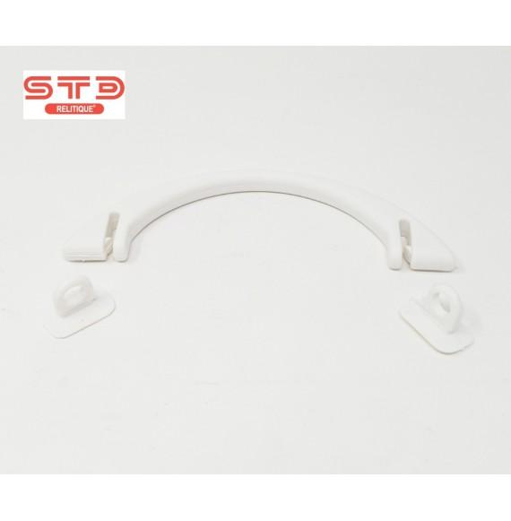 POIGNEE PLASTIQUE RIGIDE OVALE BLANC 136 X45X9 MM PAR 1000
