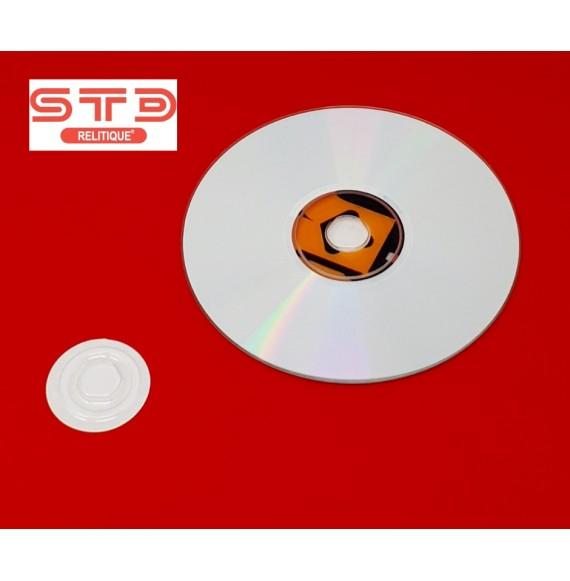 CENTREUR PORTE CD-DVD 35 MM CRISTAL Thermoformé adhésif PAR 100